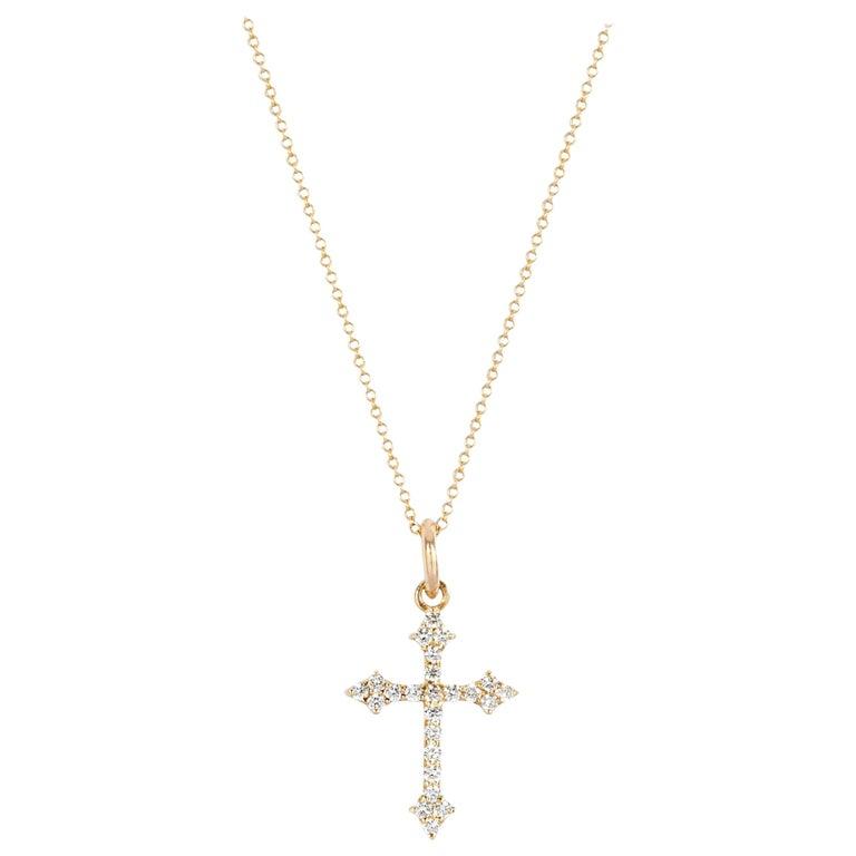 14 Karat Yellow Gold and White Diamond Baby Gothic Cross Pendant