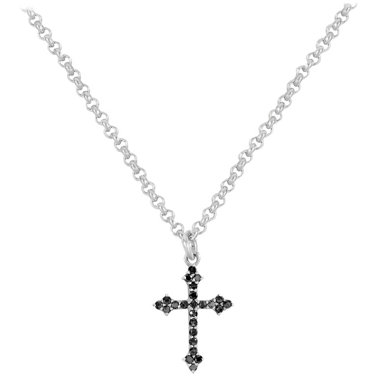 Sterling Silver and Black Diamond Baby Gothic Cross Pendant