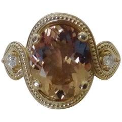 Michael Kneebone Morganite Pear Shaped Diamond Three-Stone Ring