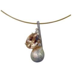 Michael Kneebone Morganite Kasumi Pearl Diamond Modernist Pendant