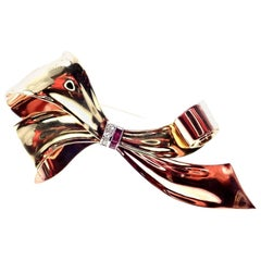 Vintage Tiffany & Co. Diamond Ruby Rose and Green Gold Bow Brooch Pin