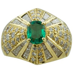 Emerald and Diamond Terrell and Zimmelman 18 Karat Yellow Gold Ring