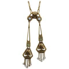 Art Nouveau Pearl Gold Pendant