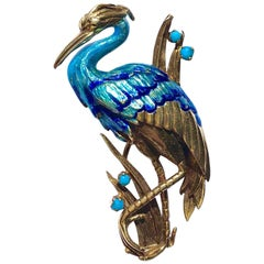 Vintage Blue Enamel and Turquoise Crane Gold Pin