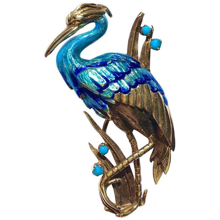 Vintage Blue Enamel and Turquoise Crane Gold Pin