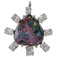 Black Boulder Opal Diamond Pendant