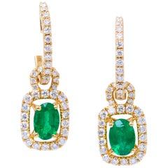 Oval Emerald and Diamonds Drop Yellow Gold Earrings