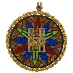 Cartier Notre Dame Cathedral Plique a Jour Charm Pendant