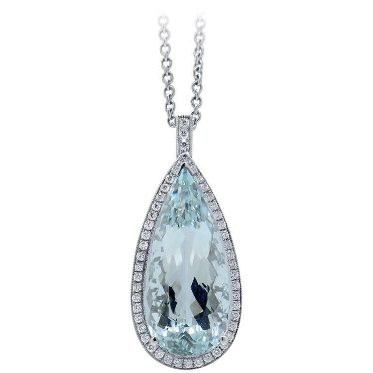 Pear Cut Aquamarine and Diamond Pendant