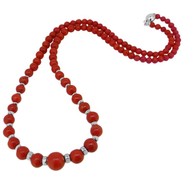 Vintage Red Coral and White Gold Bead Necklace