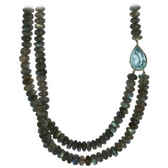 Lizunova Labradorite Topaz 18 Karat White Gold Necklace