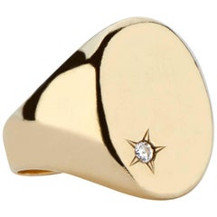 14 Karat Gold and White Diamond Classic Signet Ring