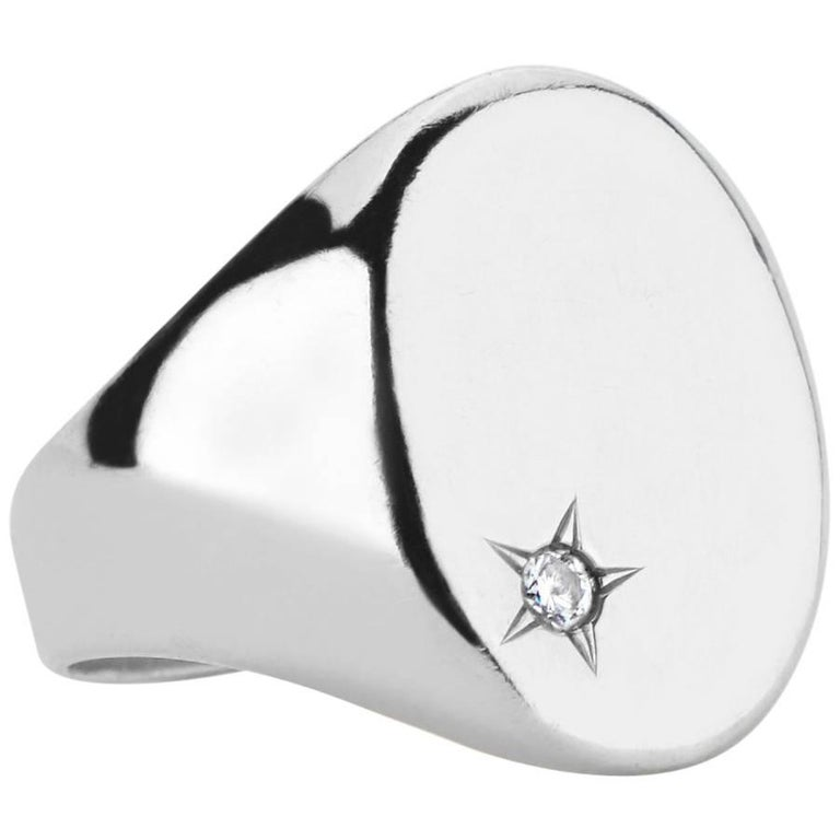 Sterling Silver and Diamond Classic Signet Ring