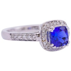 Tanzanite Cushion White Gold Diamond Ring