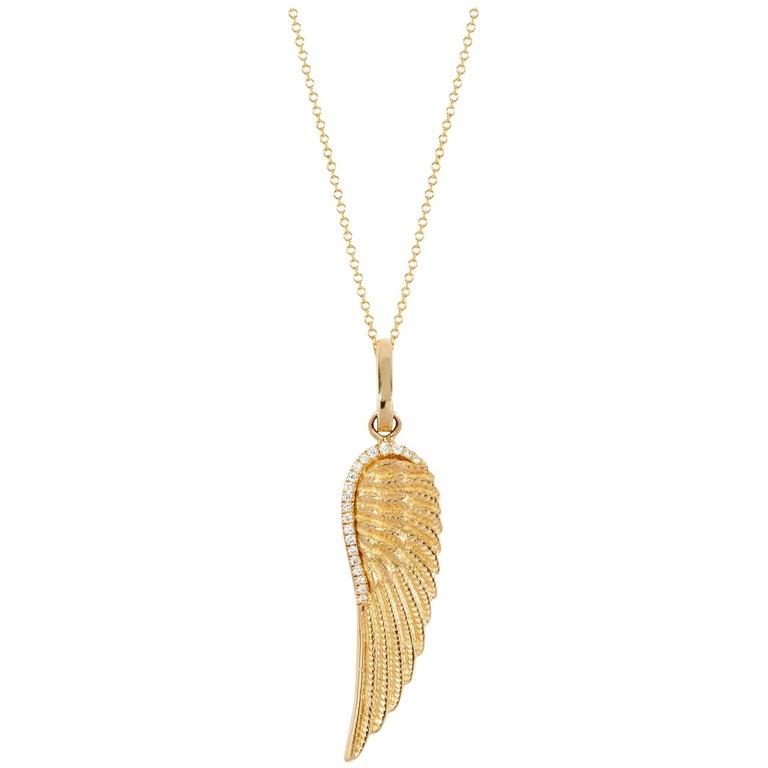 14 Karat Yellow Gold and Pavé White Diamond Angel Wing Pendant