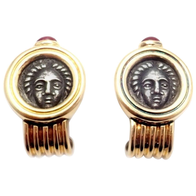Bulgari Ruby Ancient Roman Coin Yellow Gold Earrings