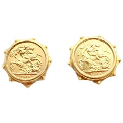 Vintage Estate EL British Sovereign Coin Yellow Gold Large Earrings