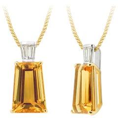 Superb 9.59ct Golden Beryl and Diamond Pendant