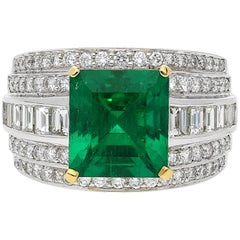 4.36 Carat GRS Certified Vivid Green Colombian Emerald and Diamond Ring