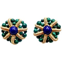 Vintage Tiffany & Co. Lapis Lazuli and Malachite Large Yellow Gold Earrings