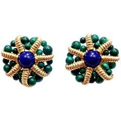 Vintage Tiffany & Co. Lapis Lazuli and Malachite Large Yellow Gold Earrings