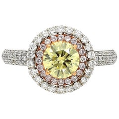 GIA Certified 1.01 Carat Fancy Yellow, Pink and White Diamond Ring