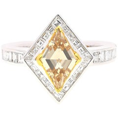 GIA Certified 1.08 Carat Lozenge-Cut Fancy Brown-Yellow Diamond Ring