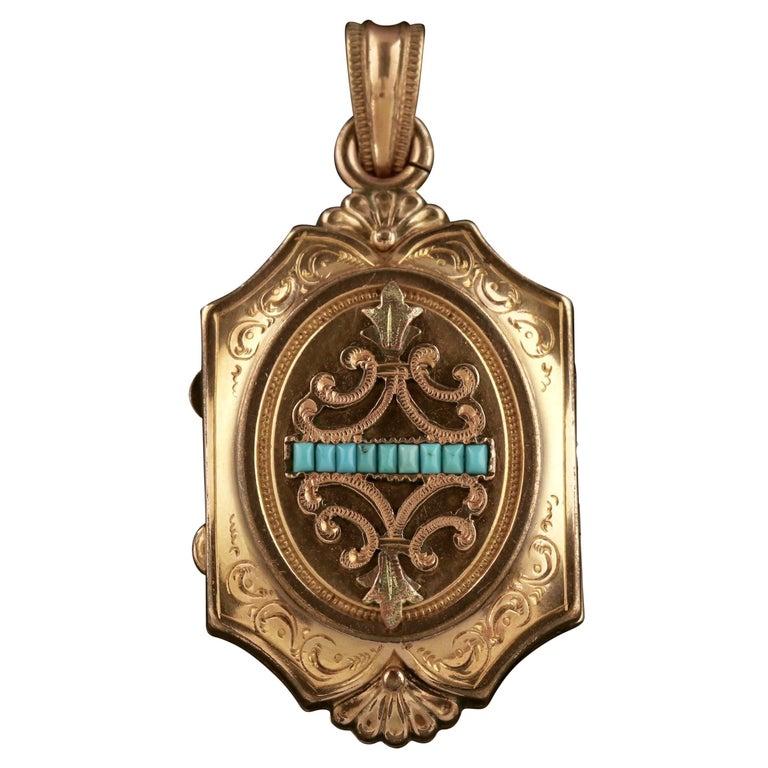 Antique Victorian Turquoise Locket Gold Gilt, circa 1890
