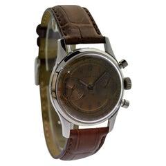 Leonidas Stainless Steel Chronograph Original Rose Gold Dial Manual Wristwatch
