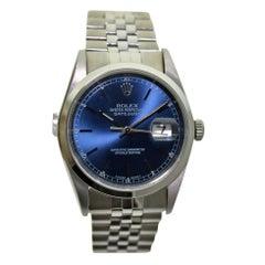 Rolex Stainless Steel Original Blue Dial Perpetual Wind Watch, circa 1999