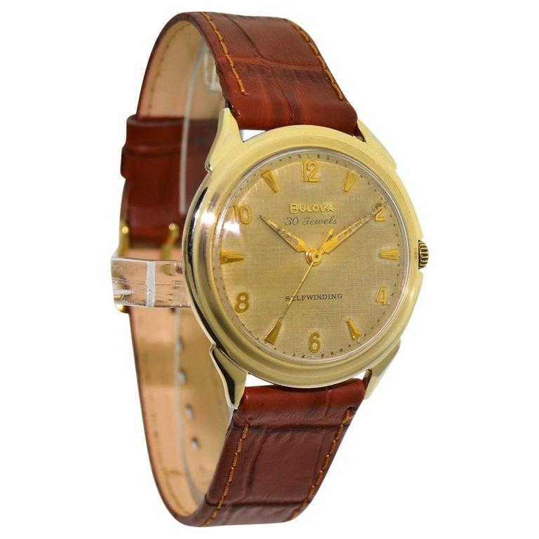 Bulova Yellow Gold Filled Art Deco Original Dial Self winding Wristwatch, 1960s For Sale