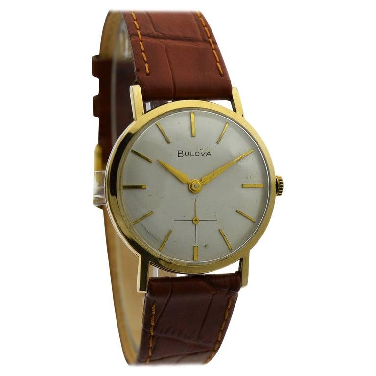 Bulova Yellow Gold Filled Original Dial Round Manual Watch