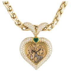Audemars Piguet Diamond and Emerald Pendant Watch Necklace