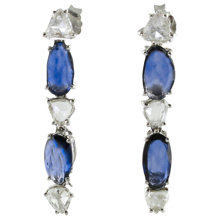 Sapphires Diamonds White Gold Dangling Earrings