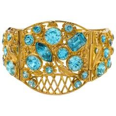 Arts & Crafts Blue Zircon Bracelet