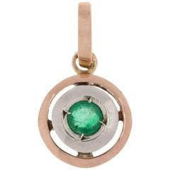 Handcrafted Italian 9 Carat Gold Emerald Pendant