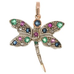 Handcrafted Italian Rose Gold Ruby Emerald and Sapphire Dragonfly Pendant