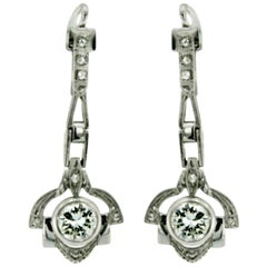 Art Deco 1.40 carat Diamond Gold Drop Earrings, 1930s