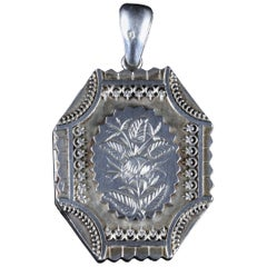 Antique Victorian Silver Locket Dated 1877