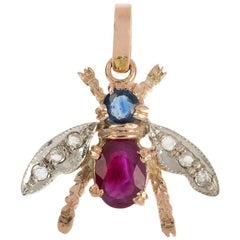 Handcrafted Italian 0.50 Carat Ruby, Sapphire & Diamond Bee Pendant