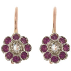 Handcrafted Italian Diamond and Ruby Floral Drop Earrings
