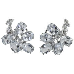 Carat 11.33 Aquamarine, Diamonds 0.38 Carat, White Gold, Earrings