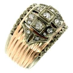 1950s Retro Diamond Bicolor Gold Band Ring