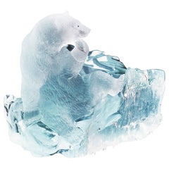 Aquamarine Polarbear Carved Figurine Sculpture Objets d'Art