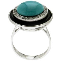 Turquoise White Gold Onyx Diamonds Cocktail Ring