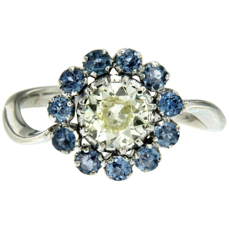 Vintage Diamond Sapphire Gold Cluster Ring