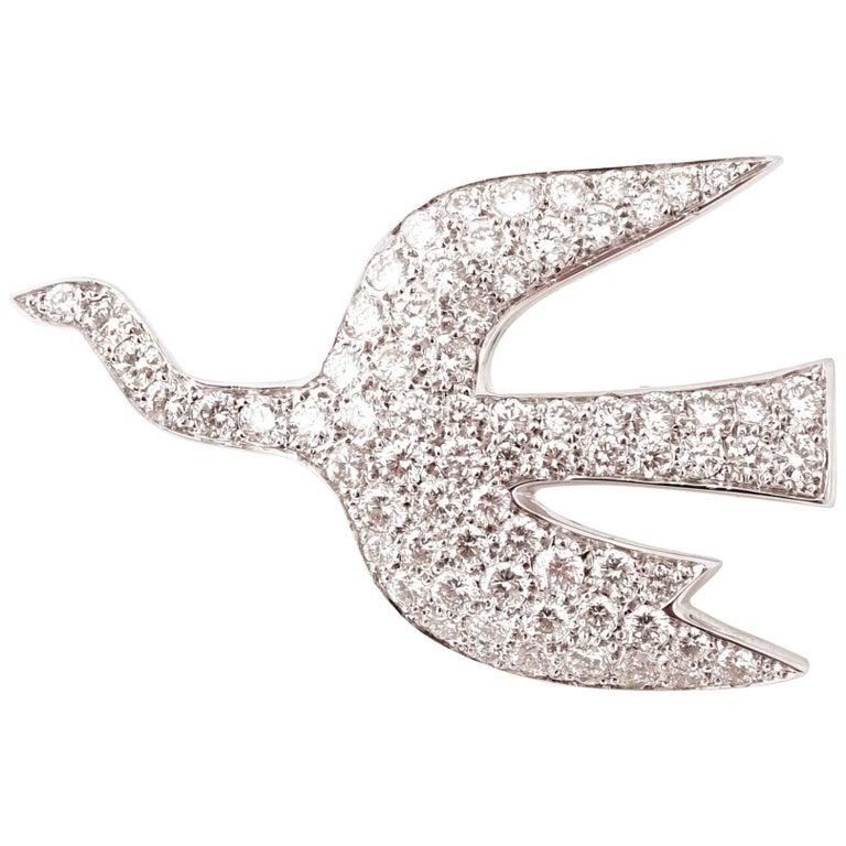 """1963, Georges Braque """"Zephir Icarios"""" 18 Karat White Gold and Diamonds Brooch For Sale"""
