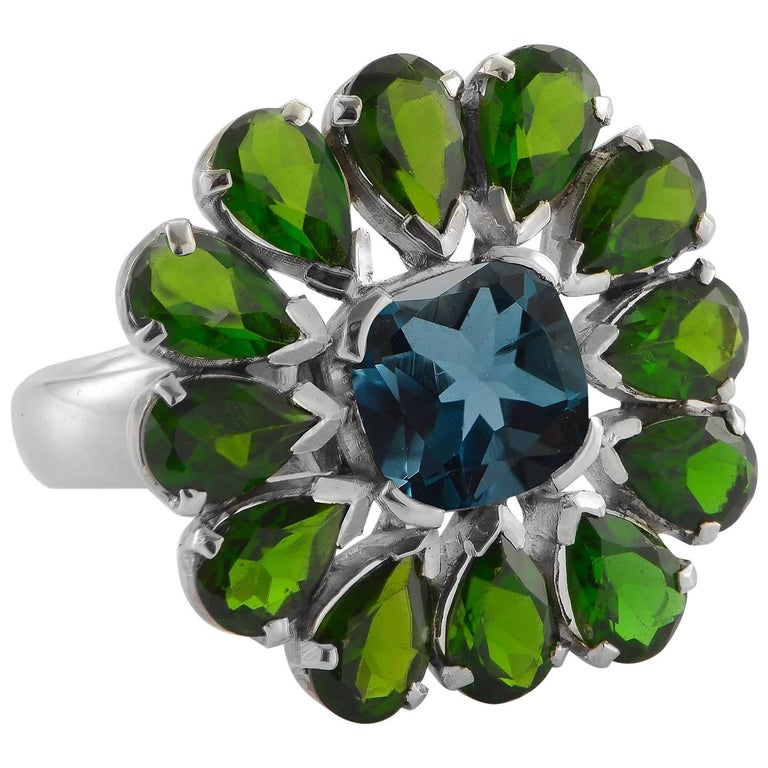 Emma Chapman Blue Topaz Chrome Diopside Cocktail Ring For Sale
