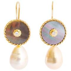 Gold Diamond South Sea Pearl Dangle Earring Interchangeable