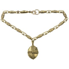 Victorian, Etruscan Revival, Gold Necklace and Locket